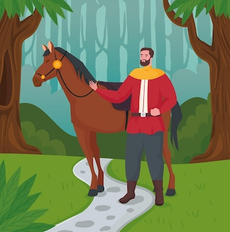 Fairytale prince cartoon with horse at forest illustration