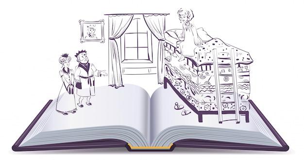 동화 공주, 펼친 책 그림