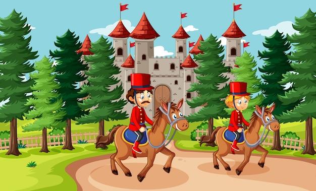 Сказочная сцена с замком и сценой королевской гвардии солдата