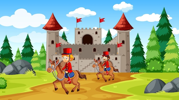 Fairytale scene with castle and soldier royal guard scene