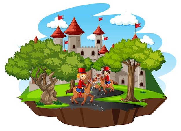 Fairytale scene with castle and soldier royal guard