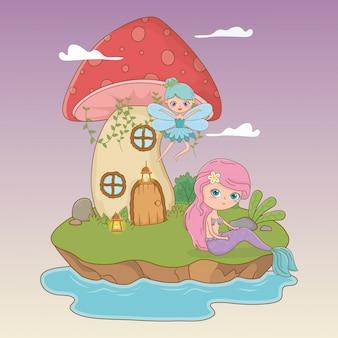 Fairytale scene with fairy and mermaid