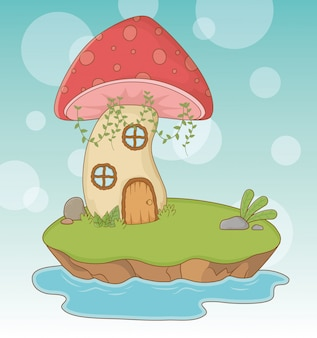 Fairytale scene with fungus