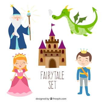 Fairytale set flat design