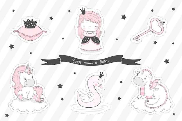 Fairytale stickers collection for girls.
