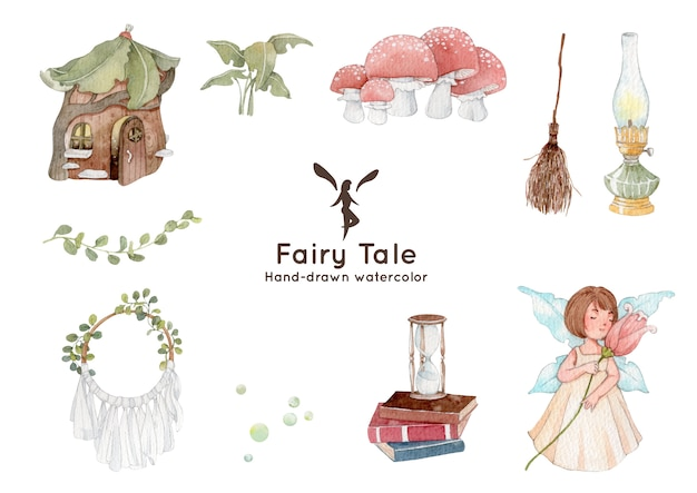 Fairytale theme watercolor illustration
