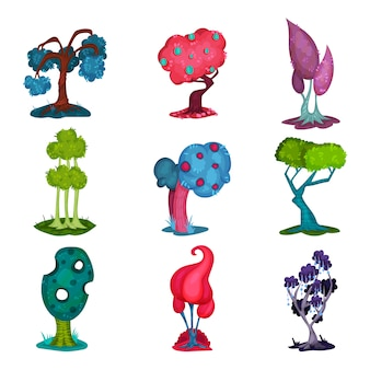 Fairytale trees set, fantasy nature landscape elements, detail for computers game interface  illustrations on a white background