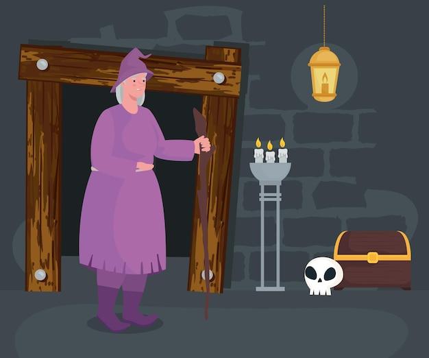 Сказочный мультфильм ведьмы на иллюстрации комнаты