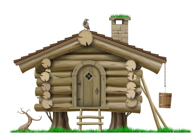 おとぎ話の木製ヴィンテージフォレスト高床式の家のベクトル