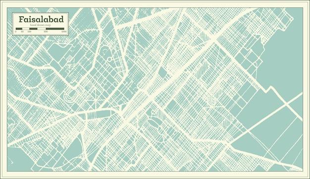 복고 스타일의 파이살라바드 파키스탄 도시 지도. 개요 지도. 벡터 일러스트 레이 션.
