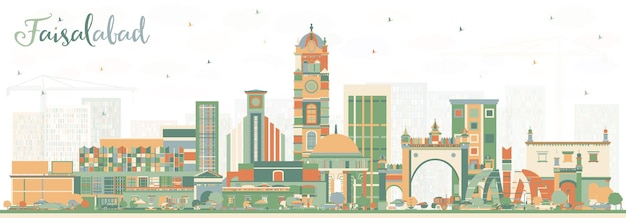 Faisalabad pakistan city skyline with color buildings. vector illustration. business travel and tourism concept with modern architecture. faisalabad cityscape with landmarks.