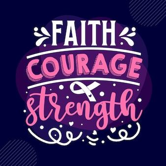 Вера храбрость сила типография премиум векторный шаблон цитаты дизайн футболки