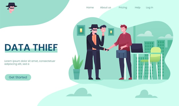 Fake disguise, internet fraud, data theft, anonymous hacker landing page