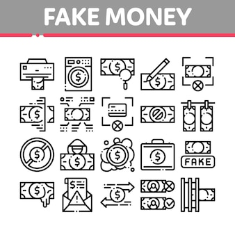 Fake money collection elements icons set