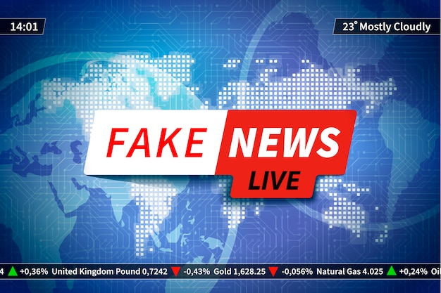 Fake news background on blue, screen saver with world map