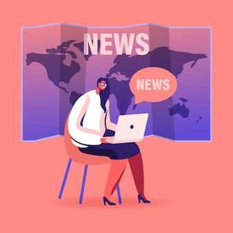 フェイクニュースのコンセプト。ノートパソコンを持つ女性キャラクターが世界地図の背景に座ってインターネットでソーシャルメディア情報を読んで、漫画イラスト
