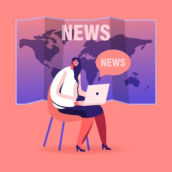 Fake news concept. female character with laptop sit on world map background reading social media information in internet, cartoon illustration