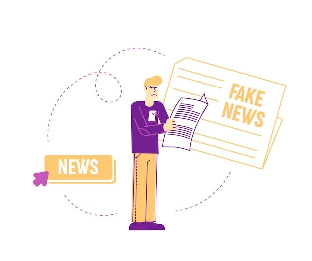 白で隔離される偽のニュースの概念