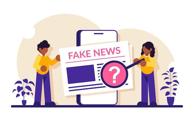 フェイクニュースのコンセプト。男性と女性がスマートフォンの画面でニュース記事を表示します。情報を確認してください。