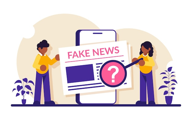 Fake news concept. man and a woman view news articles on a smartphone screen. check the information.