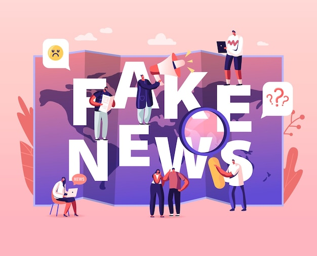 Концепция фальшивых новостей. крошечные персонажи, читающие газеты и информацию из социальных сетей в интернете на фоне карты мира, иллюстрации шаржа