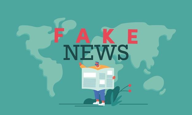 男と偽のニュースの概念
