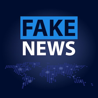 Fake news headline in blue dotted world map background.