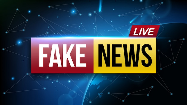 Fake news live broadcasting television screen.