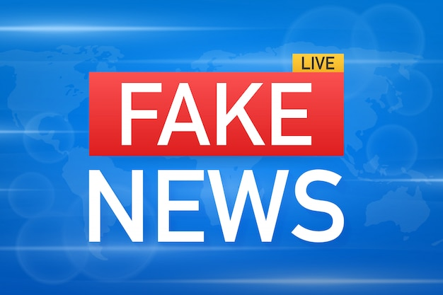 Fake news live on world map background. vector stock illustration