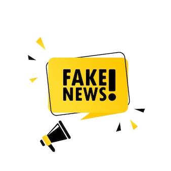 フェイクニュース。フェイクニュースの吹き出しバナー付きメガホン。スピーカー。ビジネス、マーケティング、広告に使用できます。フェイクニュースのプロモーションテキスト。ベクターeps10。