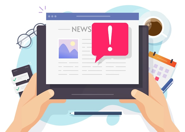 Fake news online important breaking news concept on daily digital tablet computer reading person man