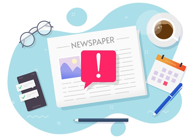 Fake news vector, important breaking news concept on daily newspaper
