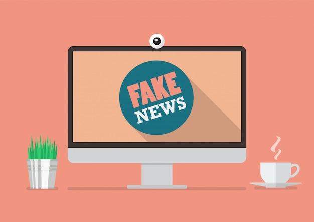 Fake news word on computer display