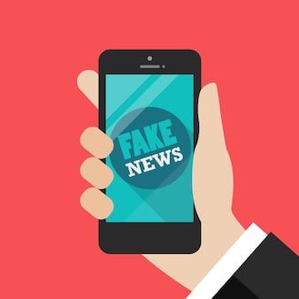 Fake news word on smartphone
