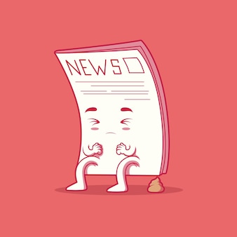 Fake newspaper cute character vector illustration news information funny design concept