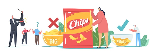 Fake packaging marketing tricks concept. tiny male and female characters at huge bowls with potato chips, woman measuring pack with tape, magician with wand show. cartoon people vector illustration