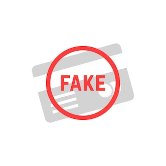 Fake simple plastic card. concept of id secure, e-commerce, not valid clone, authentication, lie, error, sham, caution, fail, hacker. flat style logo design vector illustration on white background