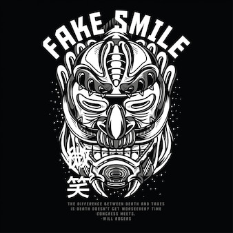 Fake smile black and white