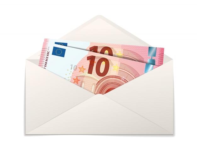 Поддельные две десять евро банкноты в конверте белой бумаги на белом