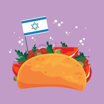 イスラエルの旗とファラフェルの漫画。ピタ、伝統的なユダヤ料理。野菜の孤立した楽しみとベジタリアンファラフェル