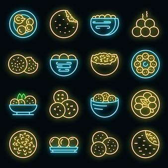 Falafel icons set vector neon
