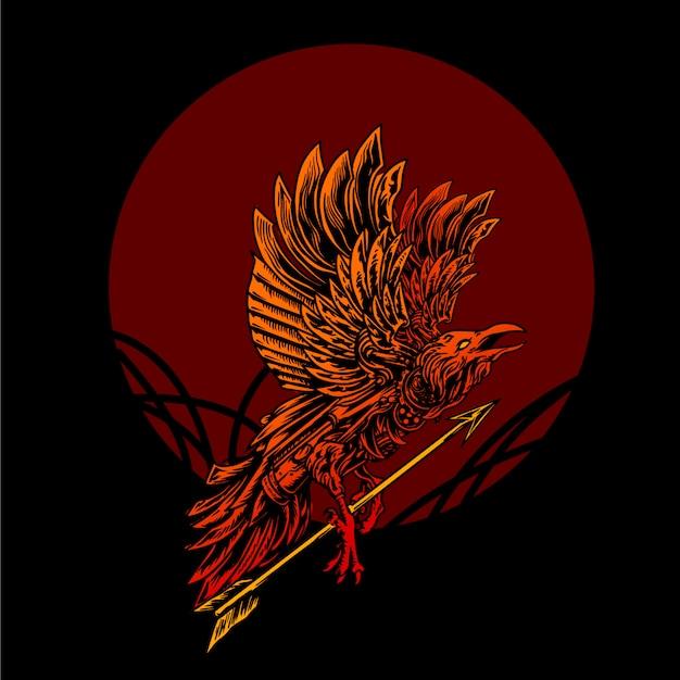 Falcodroid with arrow illustration