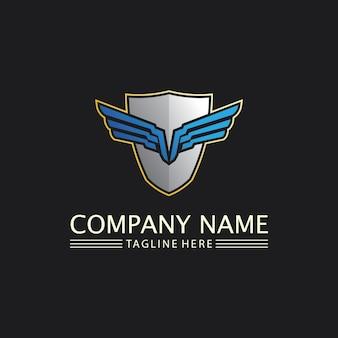 ハヤブサ、ワシのロゴと翼テンプレートベクトルイラストデザインアイコン