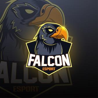 Дизайн логотипа талисмана falcon esport