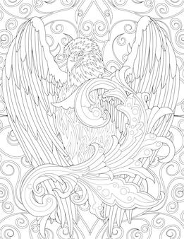 Сокол смотрит вперед с широко открытыми крыльями, бесцветная линия, рисующая красивый орел.