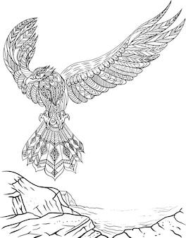 Сокол смотрит вперед с широко открытыми крыльями, летя со скалы, бесцветный рисунок линии красивый