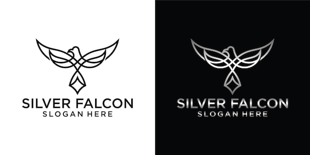 Falcon, hawk, eagle outline logo design illustration