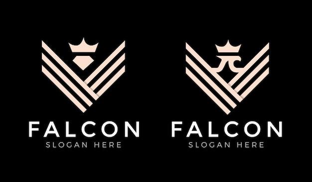 Сокол, ястреб, крылья орла, сильный логотип с монограммой