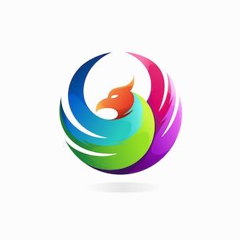 Логотип сокола с круглой концепцией
