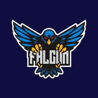 Falcon mascot e-sport gaming logo design